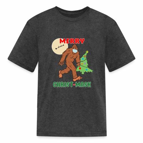 Merry Christmask Sasquatch Mask Social Distance. - Kids' T-Shirt