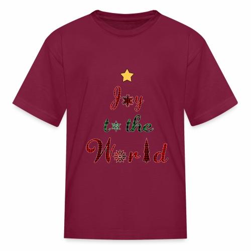 Joy to the world Christmas Tree Star Holiday Plaid - Kids' T-Shirt