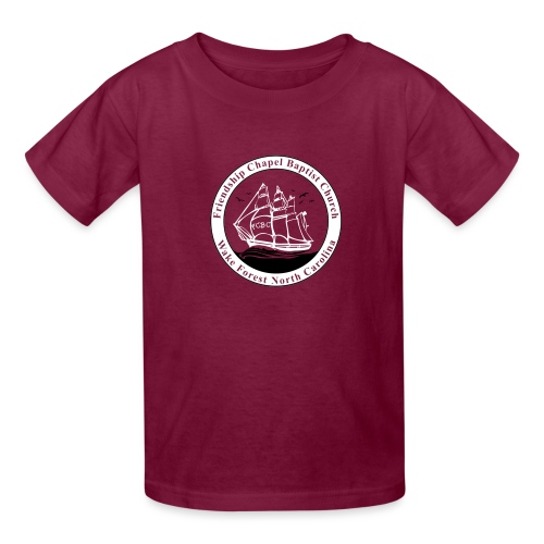 ship art burgundy blue an - Kids' T-Shirt