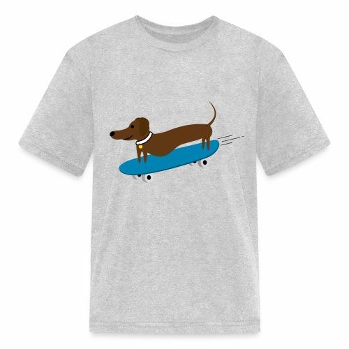 Dachshund Skateboarding - Kids' T-Shirt