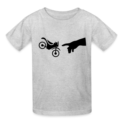 The hand of god brakes a motorcycle as an allegory - Kids' T-Shirt