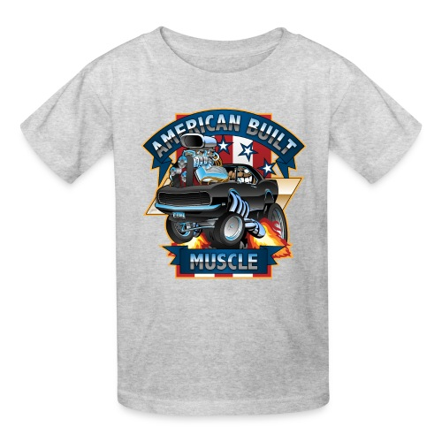American Built Muscle - Classic Muscle Car Cartoon - Kids' T-Shirt