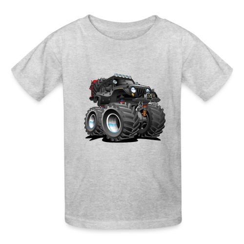 Off road 4x4 black jeeper cartoon - Kids' T-Shirt