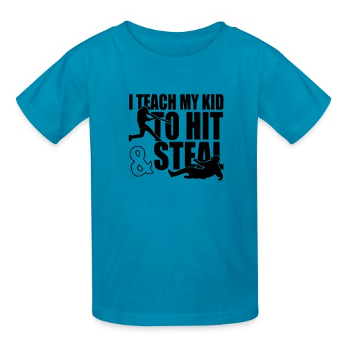 I Teach My Kid to Hit and Steal Baseball - Kids' T-Shirt