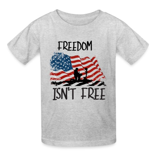 Freedom isn't free flag with fallen soldier design - Kids' T-Shirt