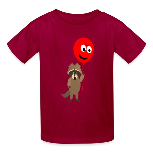 Raccoon and Balloon Cartoon Shirt - Kids' T-Shirt