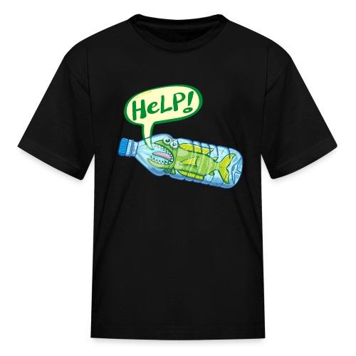 Fish inside a plastic bottle asking for help - Kids' T-Shirt