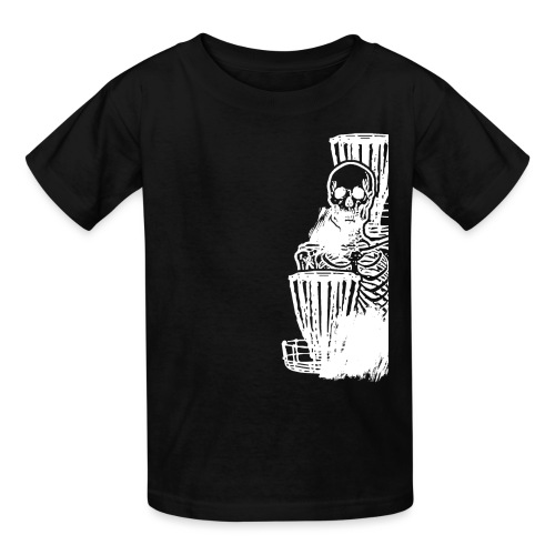 Disc Golf Until Death Skeleton White Print - Kids' T-Shirt