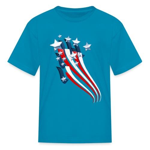 Sweeping American Flag - Kids' T-Shirt