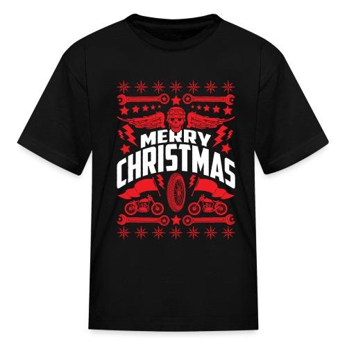 Biker Ugly Christmas Sweater - Kids' T-Shirt