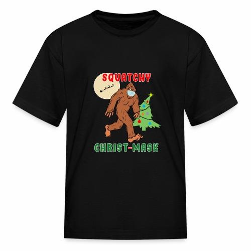 Bigfoot Squatchy Christmas Mask Social Distance. - Kids' T-Shirt