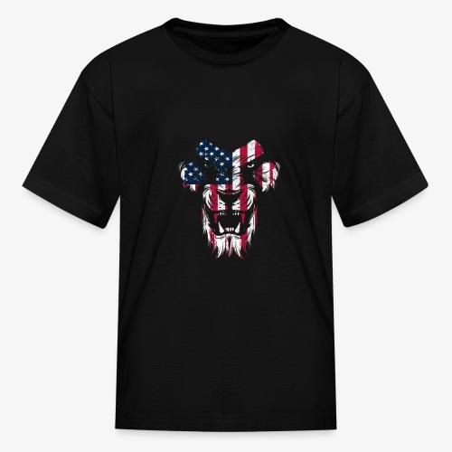 Lovely American Lion USA Flag Silhouette Portrait - Kids' T-Shirt