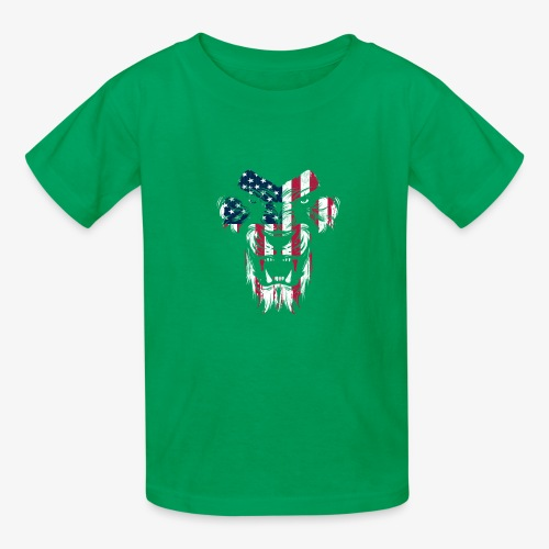 Lovely American Lion USA Flag Silhouette Portrait - Kids' T-Shirt