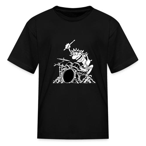 Crazy Drummer Cartoon Illustration - Kids' T-Shirt