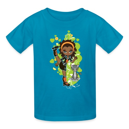 Aisha the African American Chibi Girl - Kids' T-Shirt