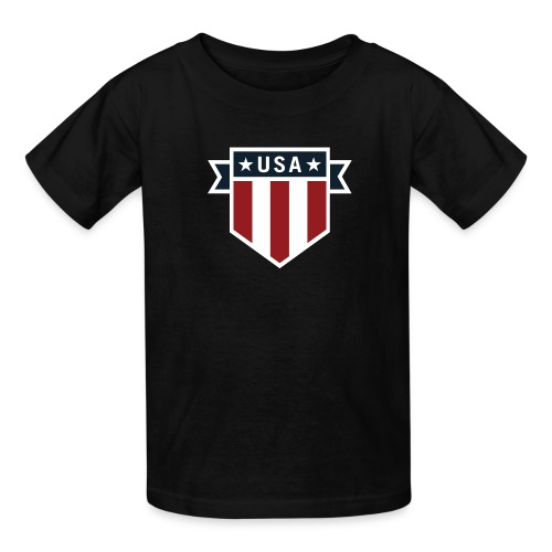 USA Pride Red White and Blue Patriotic Shield - Kids' T-Shirt
