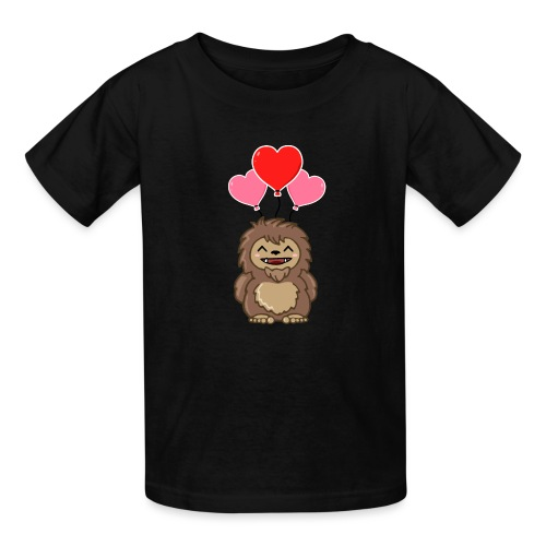 Cute Valentine Sasquatch Bigfoot Heart Balloons - Kids' T-Shirt