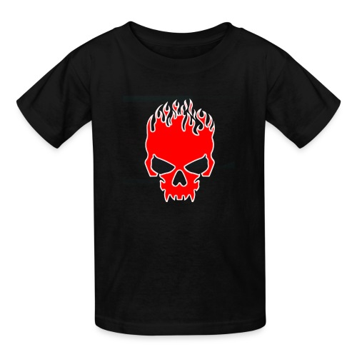 Flaming Red Skull with Tribal Flames - Kids' T-Shirt