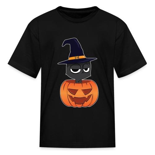 Witch Cat in a Jack o Lantern Halloween Shirt - Kids' T-Shirt