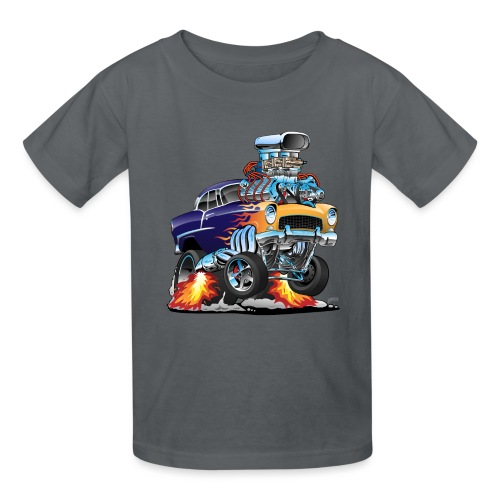 Classic Fifties Hot Rod Muscle Car Cartoon - Kids' T-Shirt