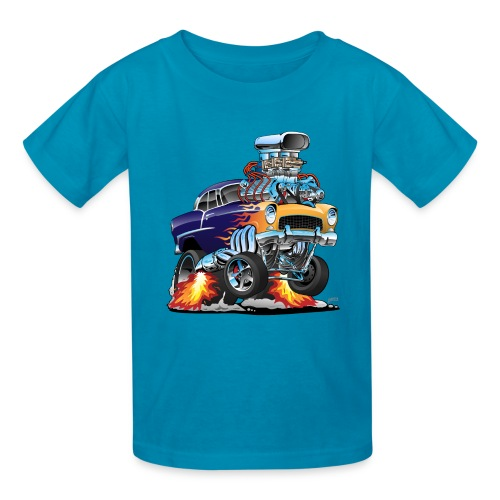 Classic Fifties Hot Rod Muscle Car Cartoon - Kids' T-Shirt
