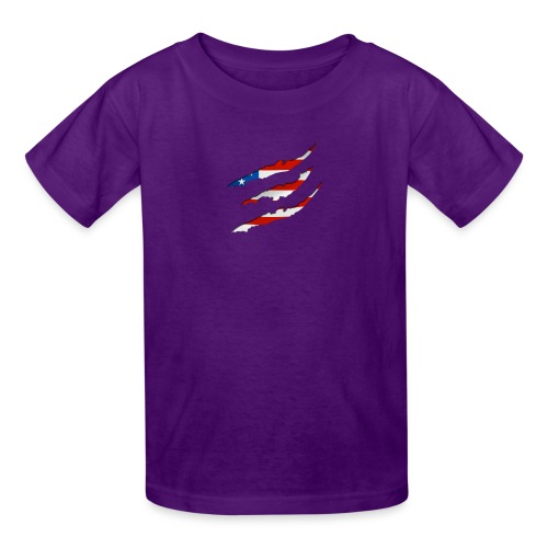 3D American Flag Claw Marks T-shirt for Men - Kids' T-Shirt