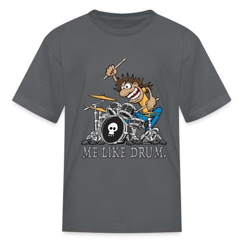 Me Like Drum. Wild Drummer Cartoon Illustration - Kids' T-Shirt
