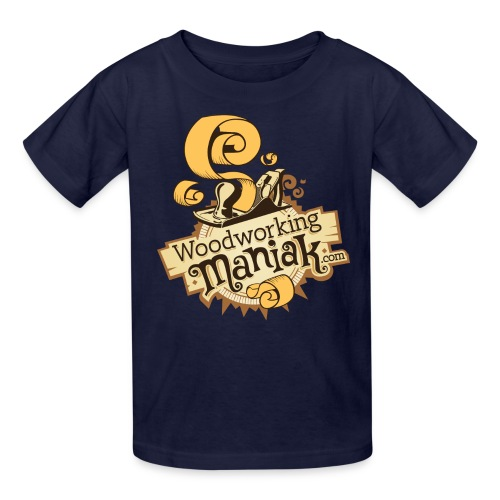 WoodworkingManiak logo 1 LARGE png - Kids' T-Shirt