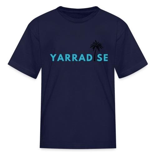 Yarradise Palm: Blue text - Kids' T-Shirt