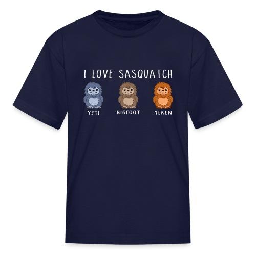 I Love Sasquatch Yeti Bigfoot Yeren Cute Chibi Wh - Kids' T-Shirt