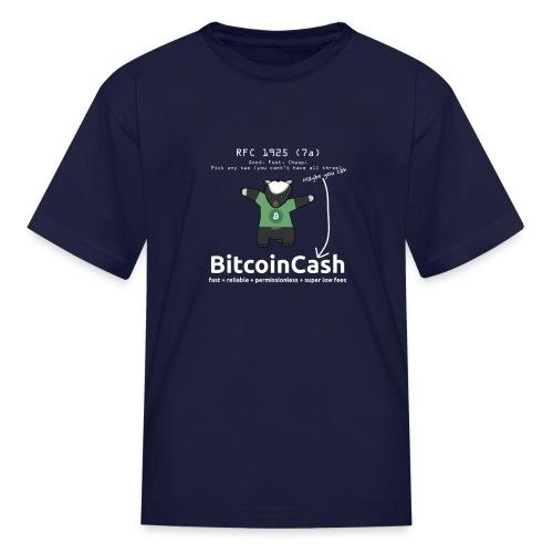 Bitcoin Cash RFC 1925 (7a) Green logo - Kids' T-Shirt