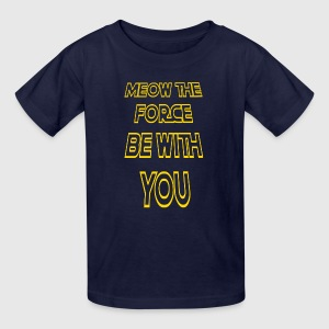 Meow The Force Be With You/ Yellow Outline - Kids' T-Shirt