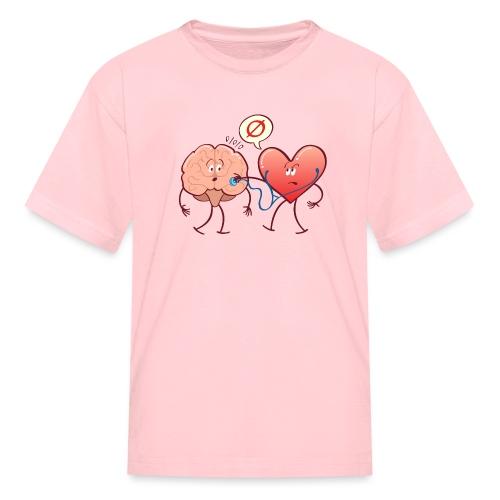 Heart examinating Brain with Stethoscope - Kids' T-Shirt