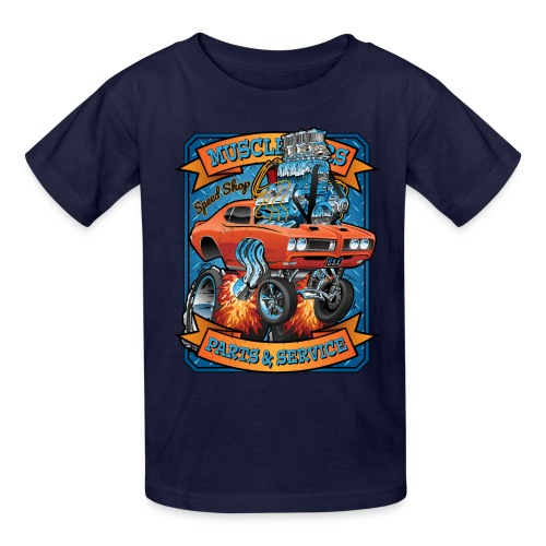 Classic Sixties Muscle Car Parts & Service Cartoon - Kids' T-Shirt