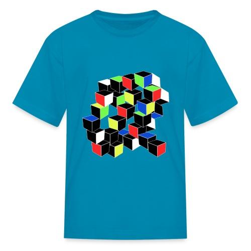 Optical Illusion Shirt - Cubes in 6 colors- Cubist - Kids' T-Shirt