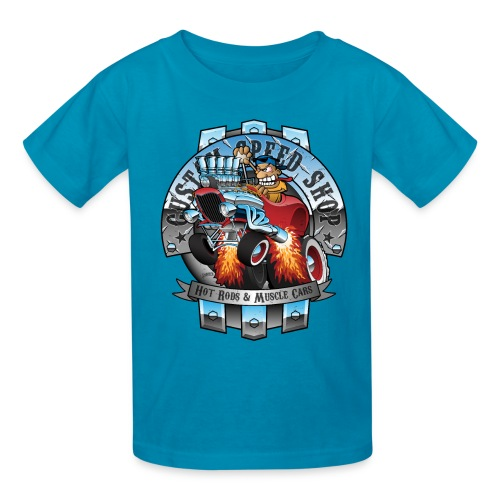Custom Speed Shop Hot Rods and Muscle Cars Illustr - Kids' T-Shirt