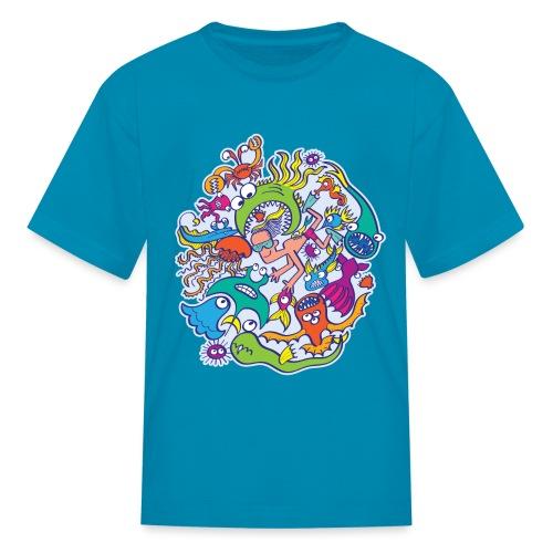 Summer swimming with weird dangerous sea creatures - Kids' T-Shirt