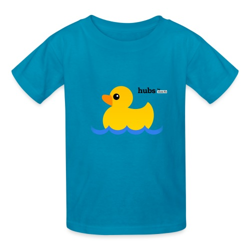Hubs Duck - Wordmark and Water - Kids' T-Shirt