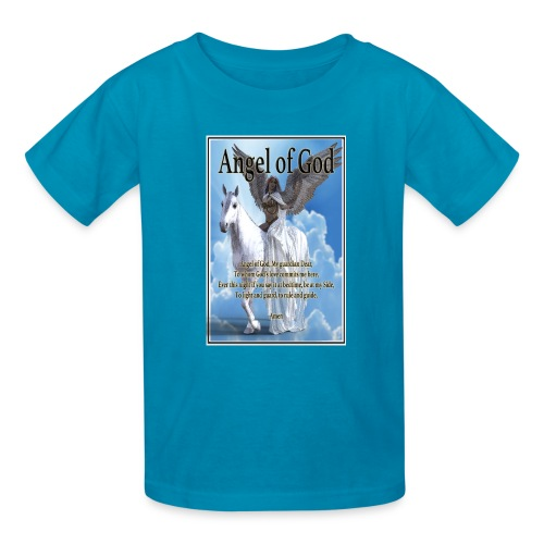 Angel of God, My guardian Dear (version with sky) - Kids' T-Shirt