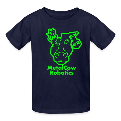 MetalCowLogo GreenOutline - Kids' T-Shirt