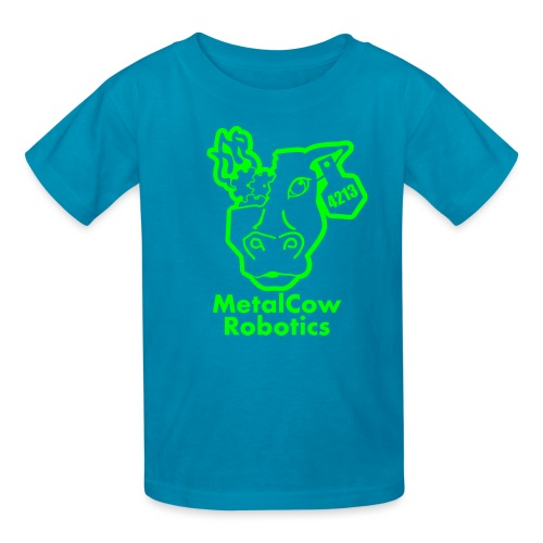 MetalCowLogo GreenOutline - Kids' T-Shirt