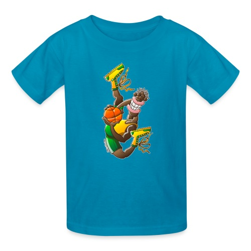 Acrobatic basketball player performing a high jump - Kids' T-Shirt