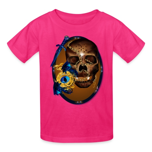 Oval-Dark Skull with Evil - Kids' T-Shirt