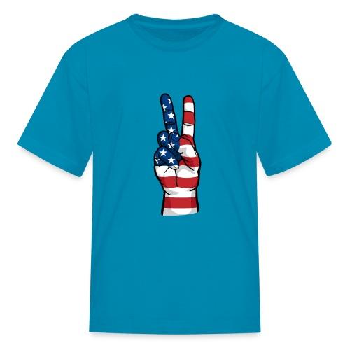 hand peace sign USA T small - Kids' T-Shirt