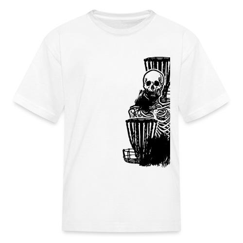 Disc Golf Until Death Black Print Skeleton Shirt - Kids' T-Shirt