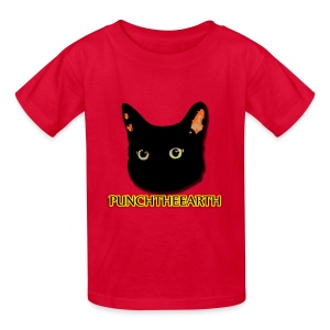 PunchTheEarth Cat with Text - Kids' T-Shirt