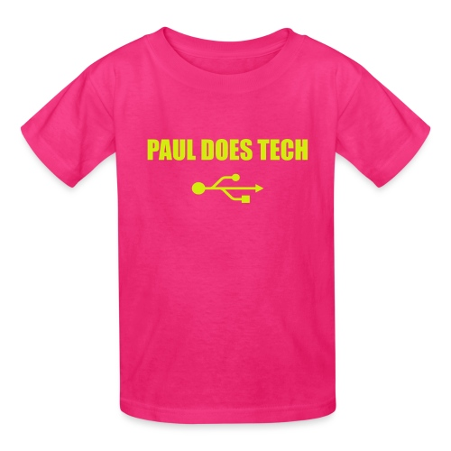Paul Does Tech Yellow Logo With USB (MERCH) - Kids' T-Shirt