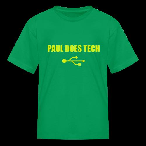 Paul Does Tech Yellow Logo With USB (MERCH) - Kids' T-Shirt