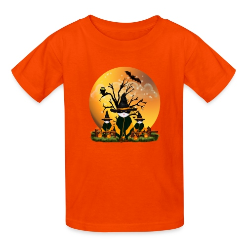 Happy Halloween with 3 masked cats - Kids' T-Shirt