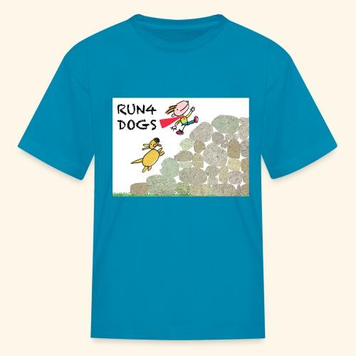 Dog chasing kid - Kids' T-Shirt